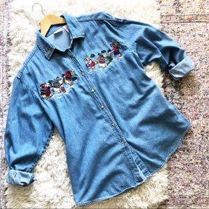 Vintage | Christmas Bear Embroidered Denim Shirt